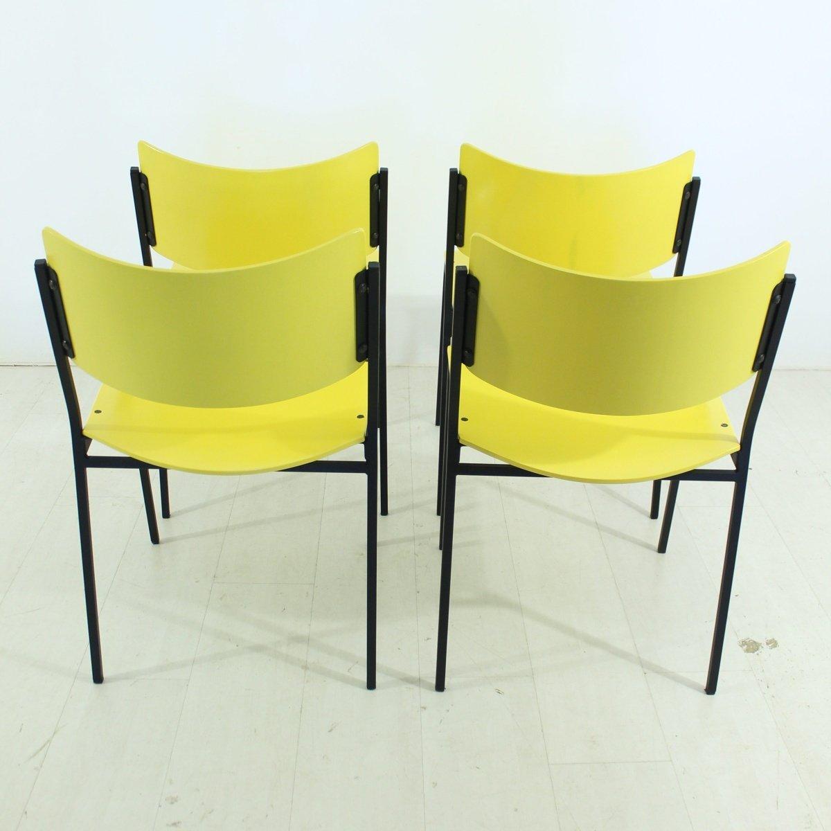 gelbe st hle 1960er 4er set bei pamono kaufen. Black Bedroom Furniture Sets. Home Design Ideas