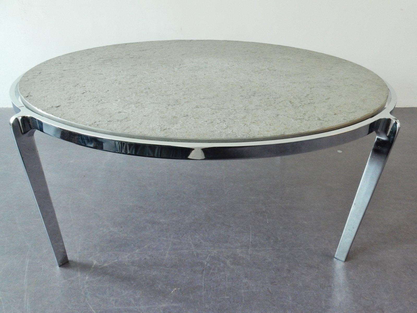 gro er couchtisch aus stein chrom 1970er bei pamono kaufen. Black Bedroom Furniture Sets. Home Design Ideas