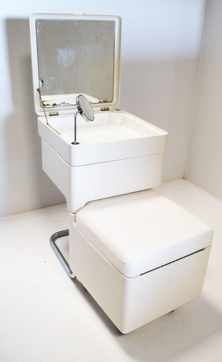 Klappbarer Schminktisch mit Spiegel & Hocker, 1970er | Schlafzimmer > Kommoden > Schminkkommoden & Schminktisch | Weiß | Holz
