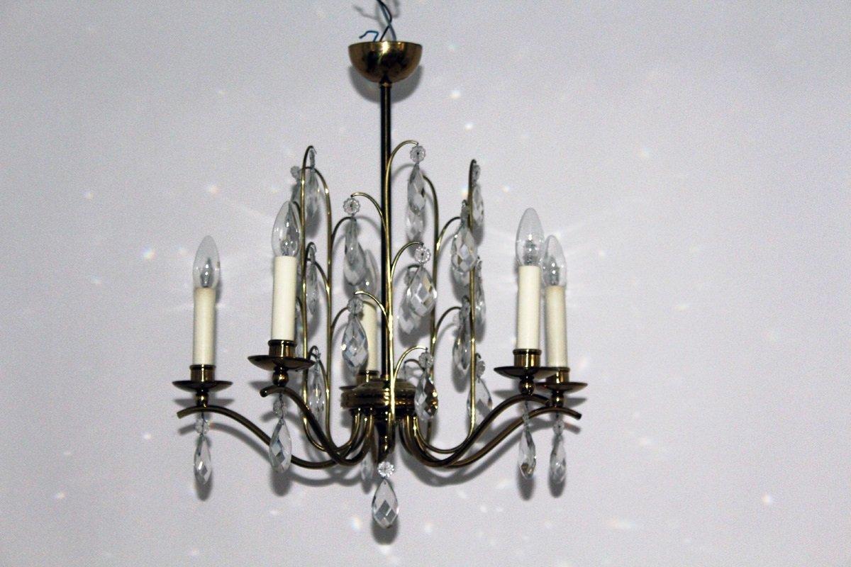 Kronleuchter aus Kristallglas, 1950er