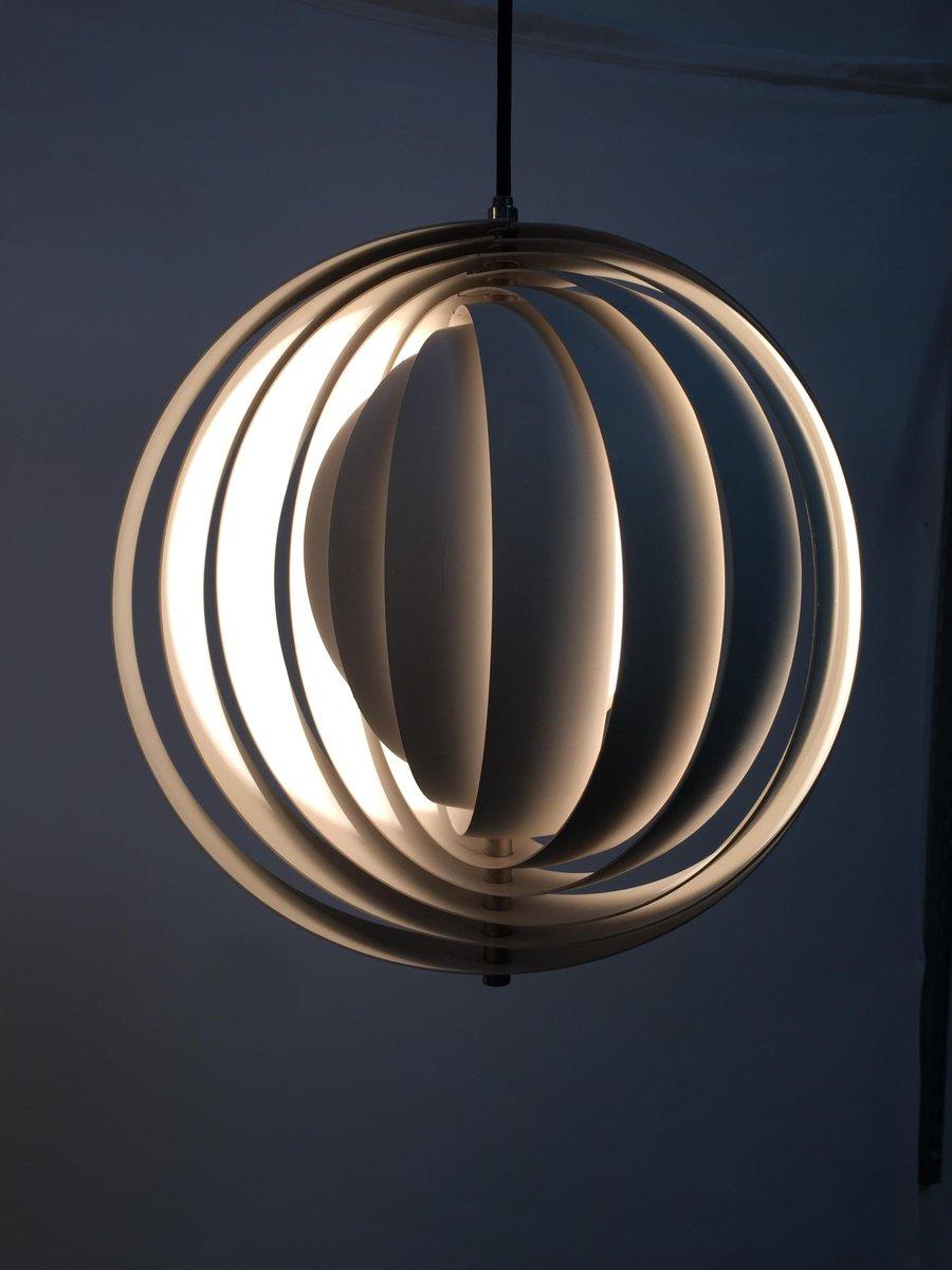 Dänische Mid-Century Moonlight Hängelampe von Verner Panton