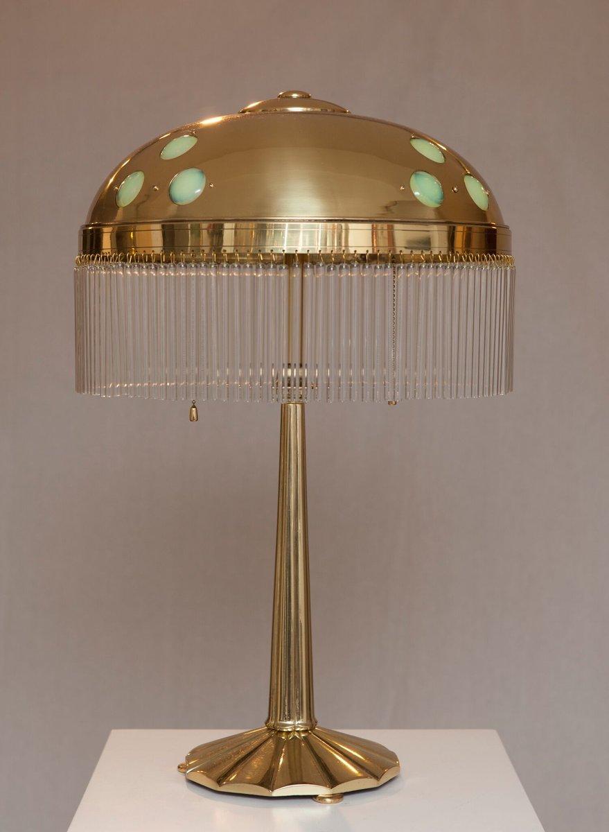 Jugendstil Tischlampe mit Opalglas Elementen, 1900er
