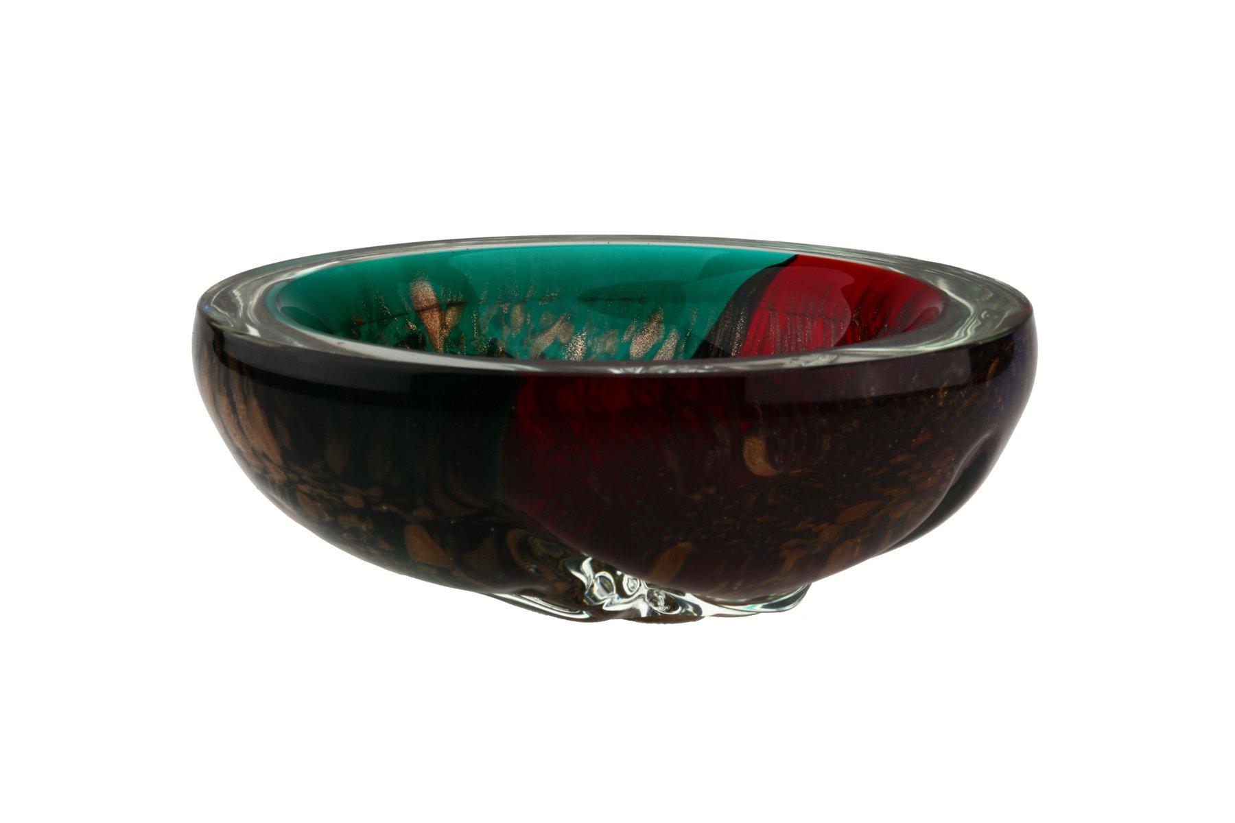 italienische mid century murano glas schale in rot und. Black Bedroom Furniture Sets. Home Design Ideas