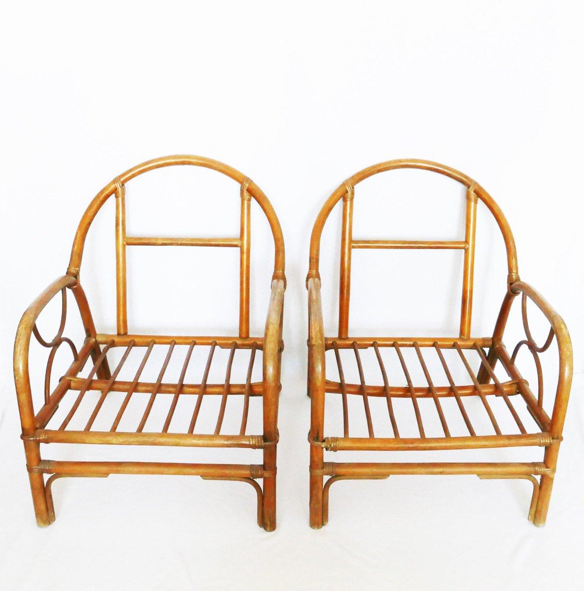 fauteuils vintage en bambou france en vente sur pamono. Black Bedroom Furniture Sets. Home Design Ideas