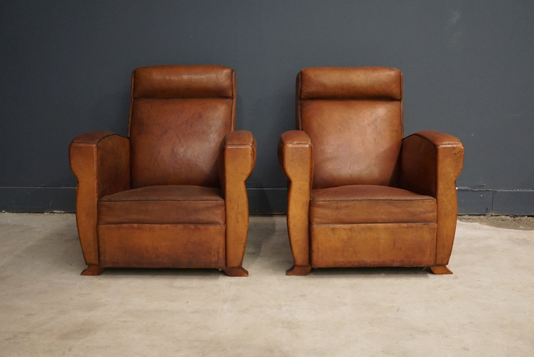 French Cognac Leather Club Chairs, 1940s, Set Of 2