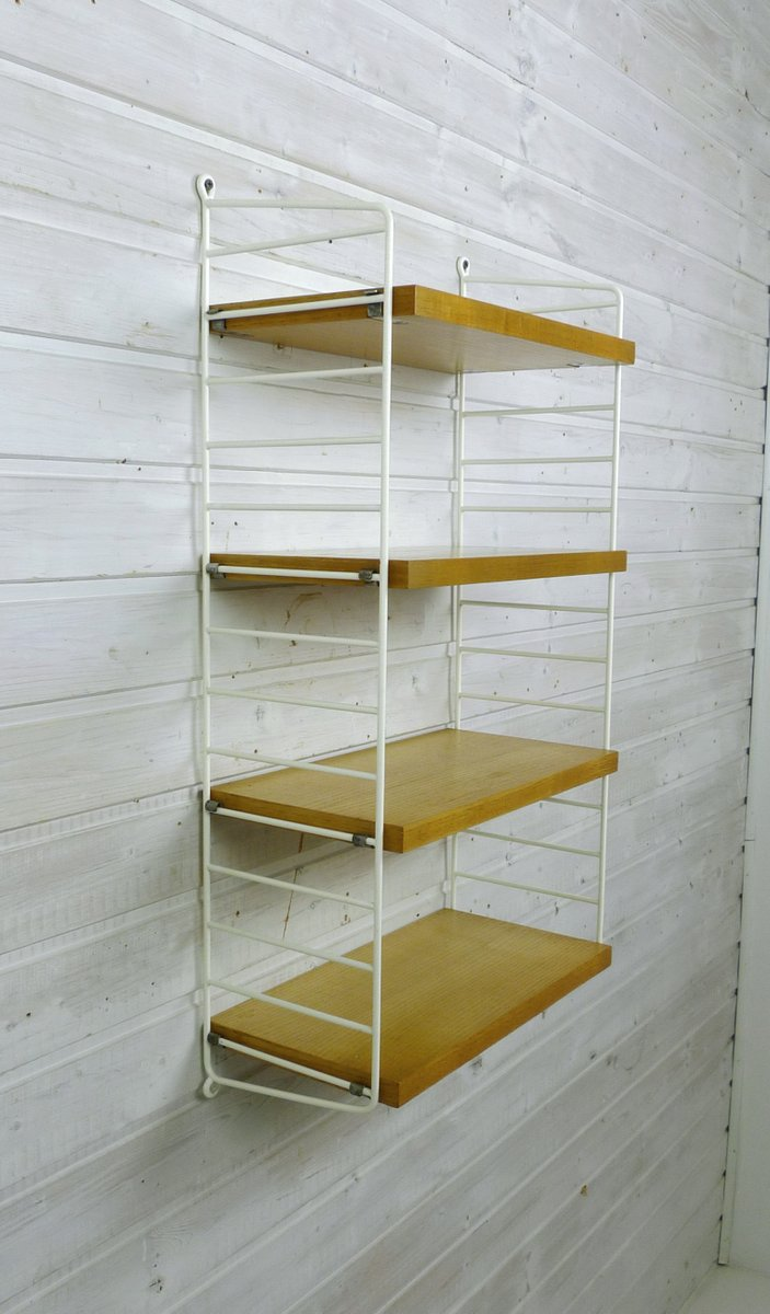 kleines wand regalsystem aus esche von nisse strinning f r string design ab 1960er bei pamono. Black Bedroom Furniture Sets. Home Design Ideas