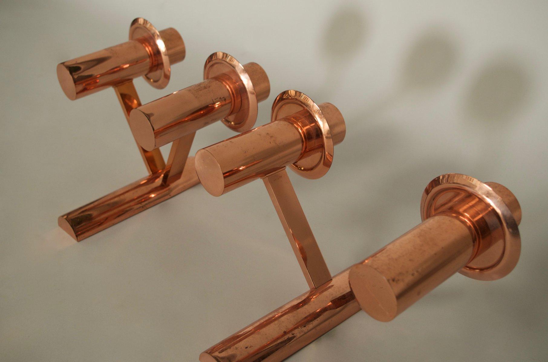 Applique in metallo placcato in rame anni 50 set di 2 in vendita