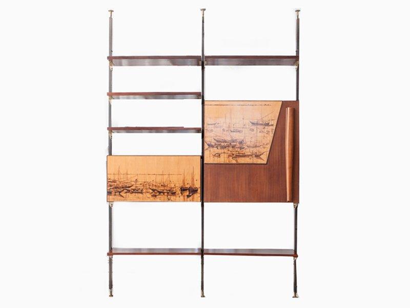 Vintage regalsystem aus massivholz metall messing bei for Regalsystem metall design