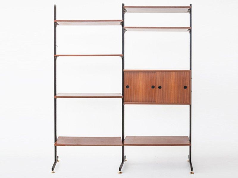 b cherregal aus holz metall messing 1956 bei pamono kaufen. Black Bedroom Furniture Sets. Home Design Ideas