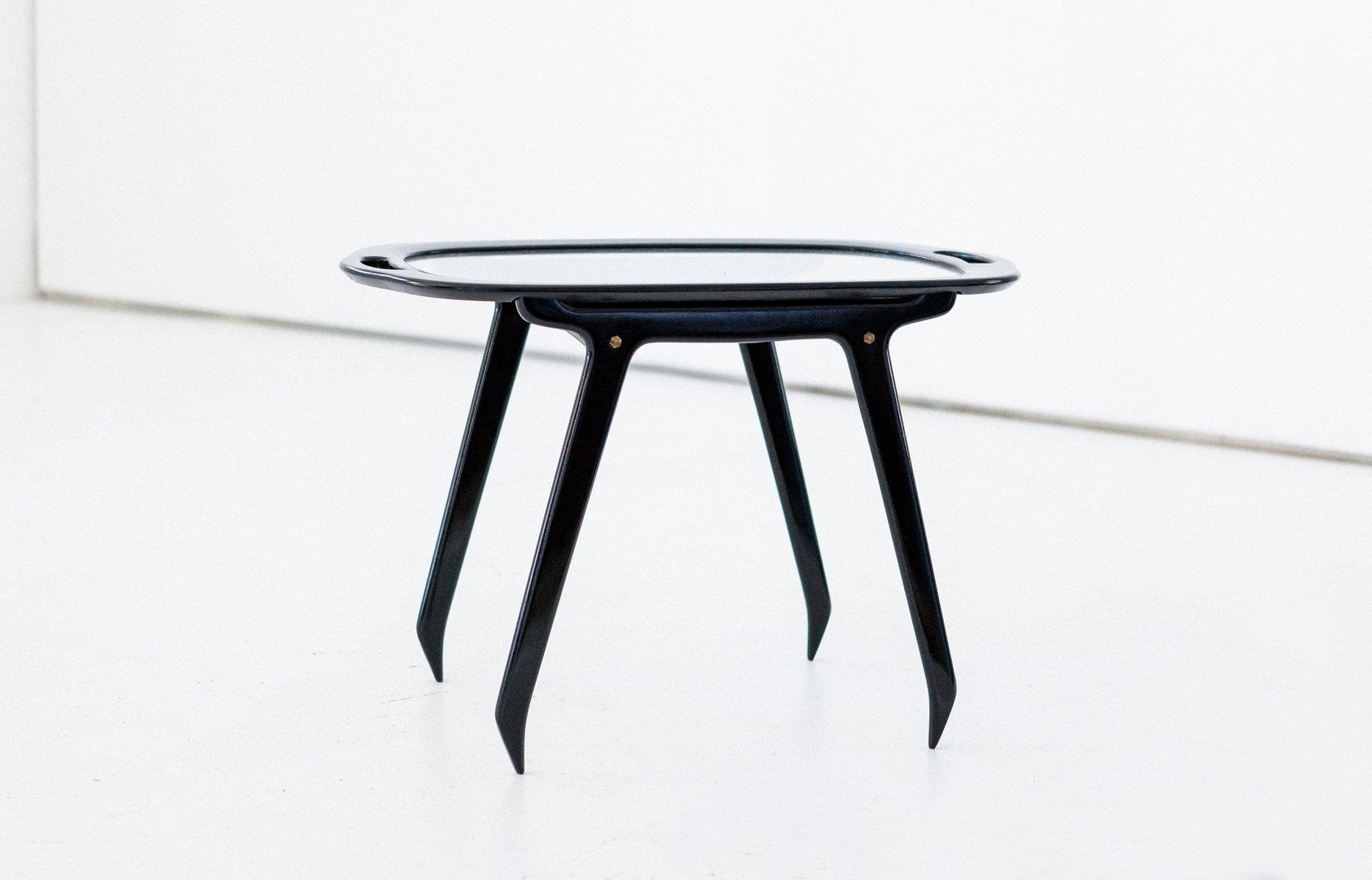 Schwarzer italienischer Couch- oder Serviertisch aus Holz & Glas von C...