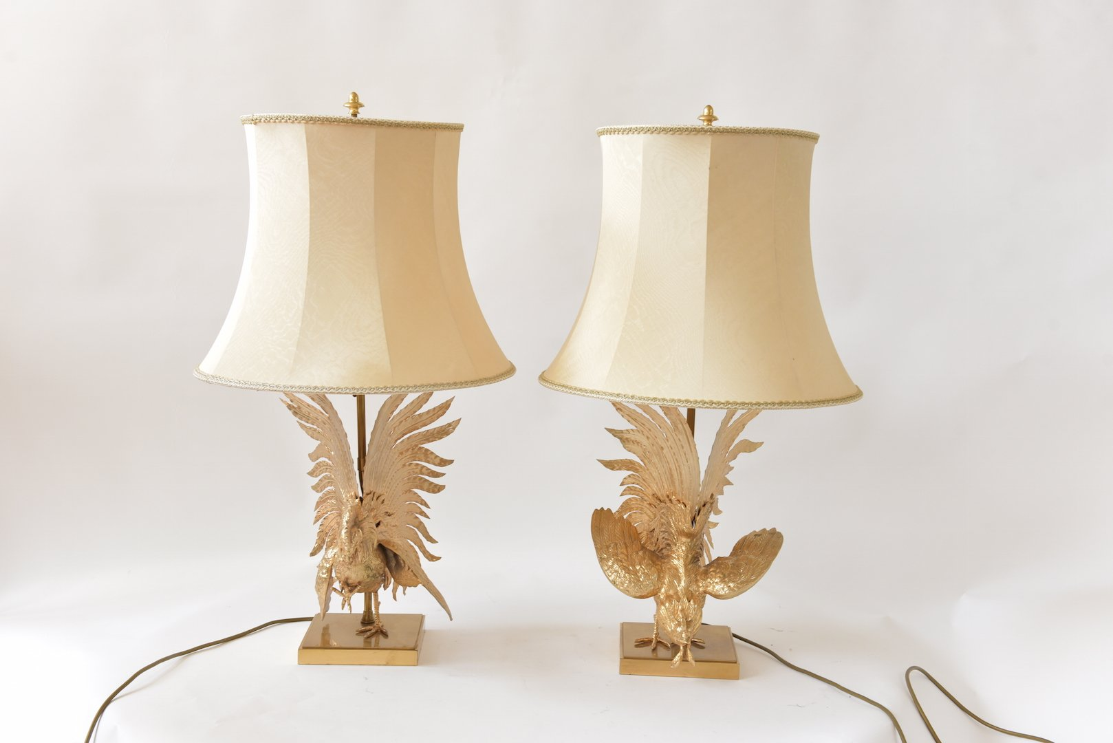 Vintage Gaulois Coqs Tischlampen, 2er Set
