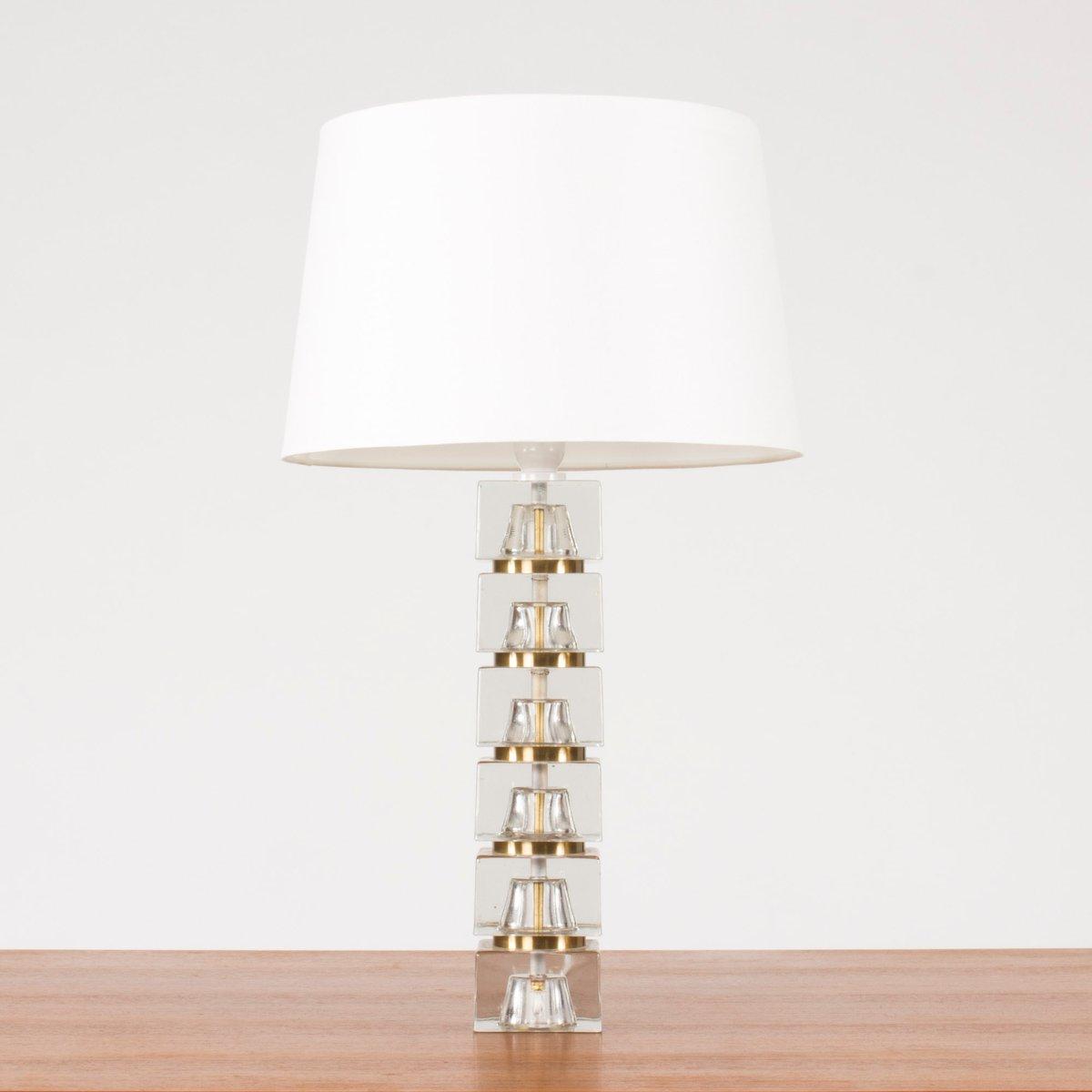 Schwedische Tischlampe mit Glasfuß, 1960er