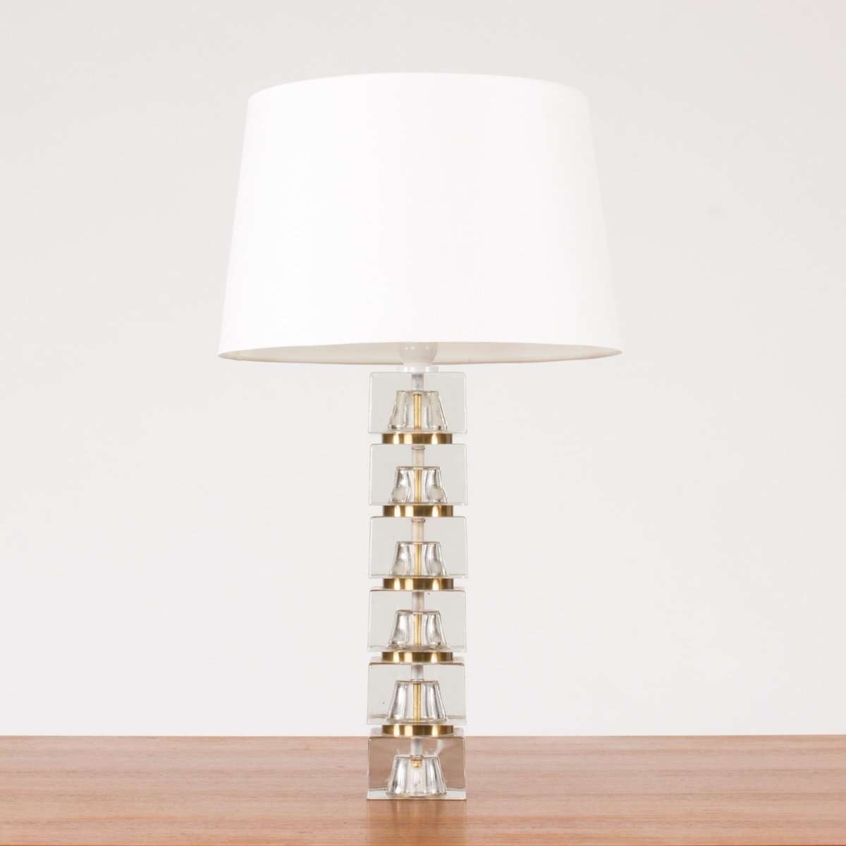 Gentil Swedish Glass Base Table Lamp, 1960s