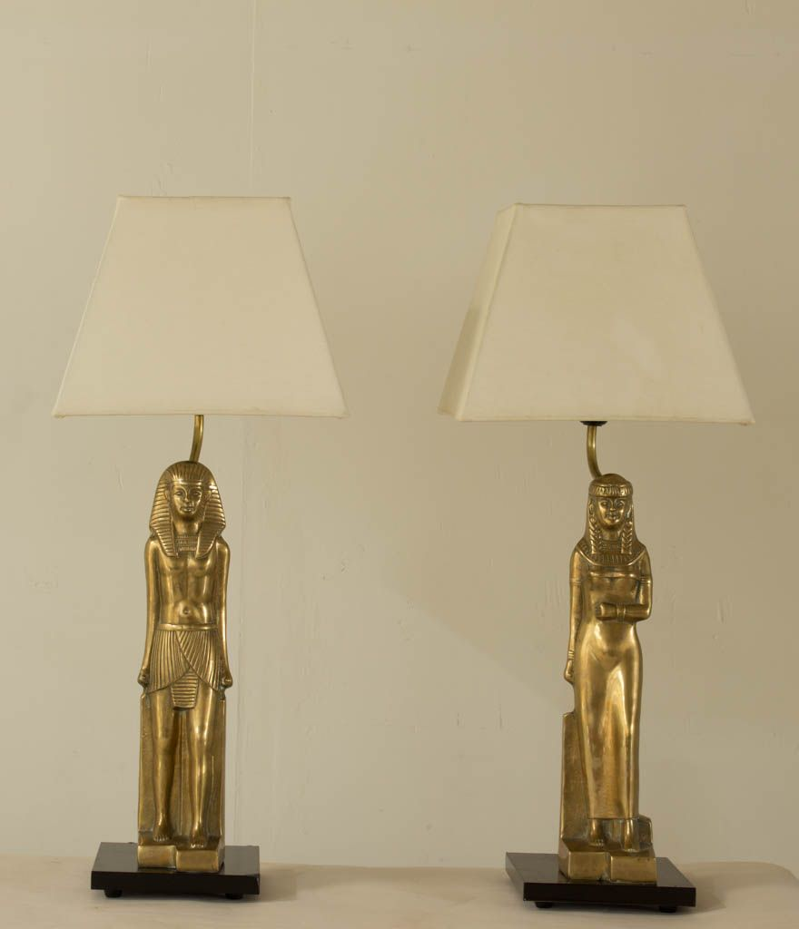 Messing Pharaoh Lampen von Regina, 1970er, 2er Set