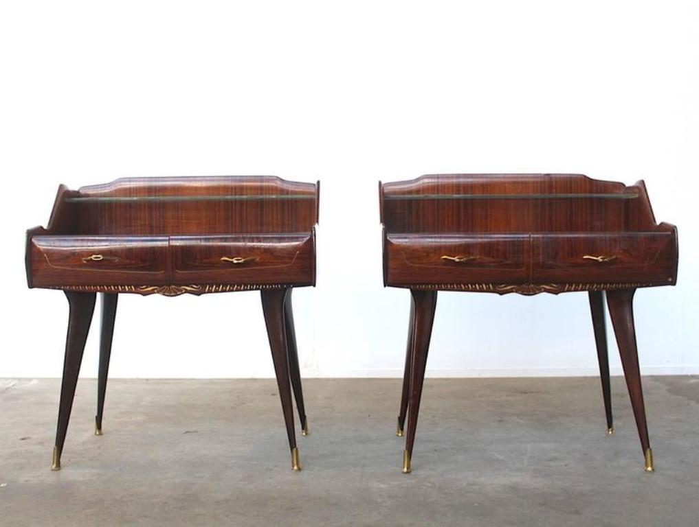italienische vintage nachttische 2er set bei pamono kaufen. Black Bedroom Furniture Sets. Home Design Ideas