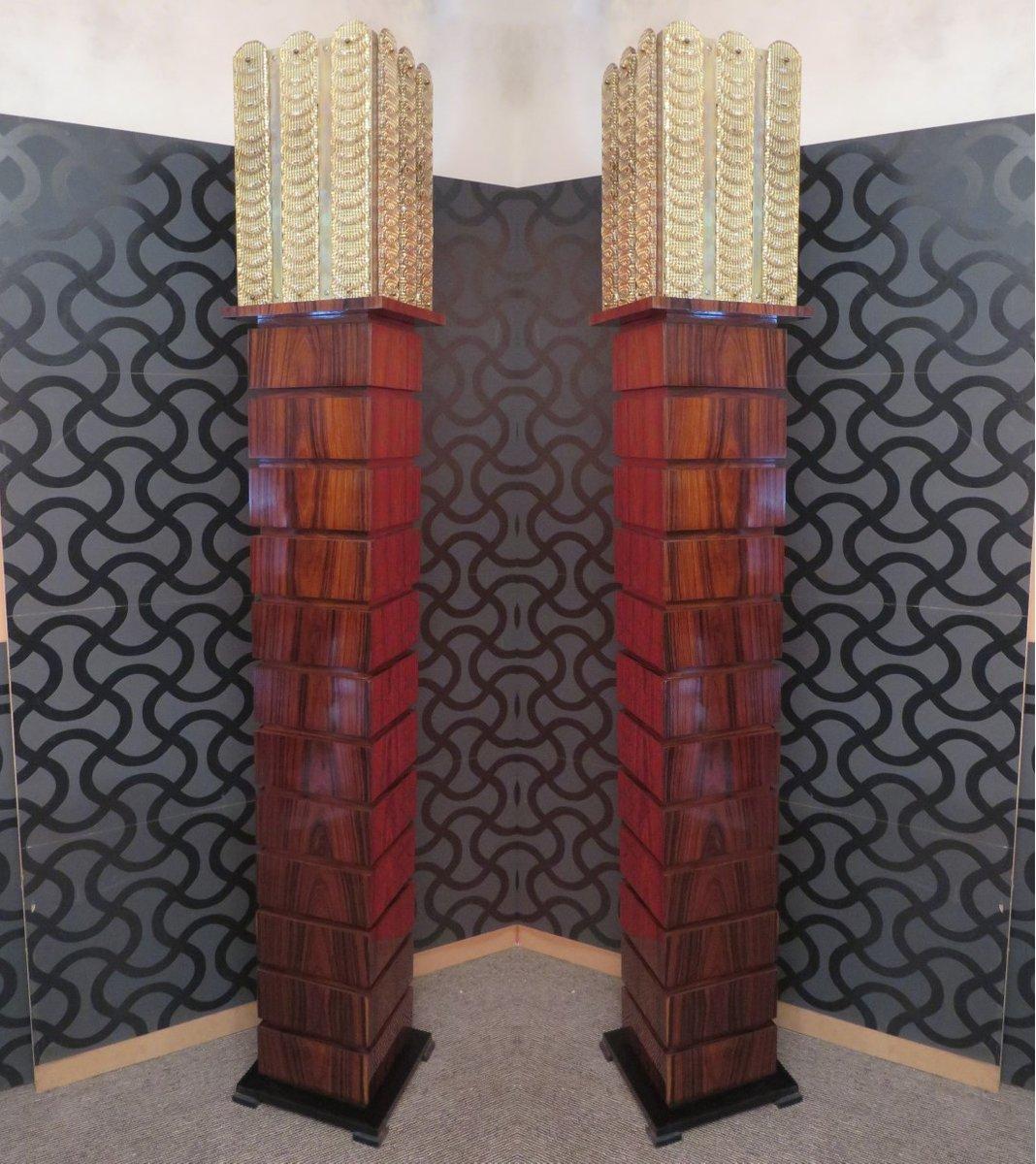Bodenlampen aus Holz und Murano Glas, 1980er, 2er Set
