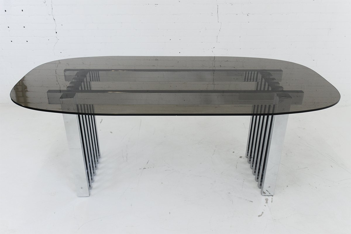 Mid Century Modern Chrome And Gl Dining Table 1970s