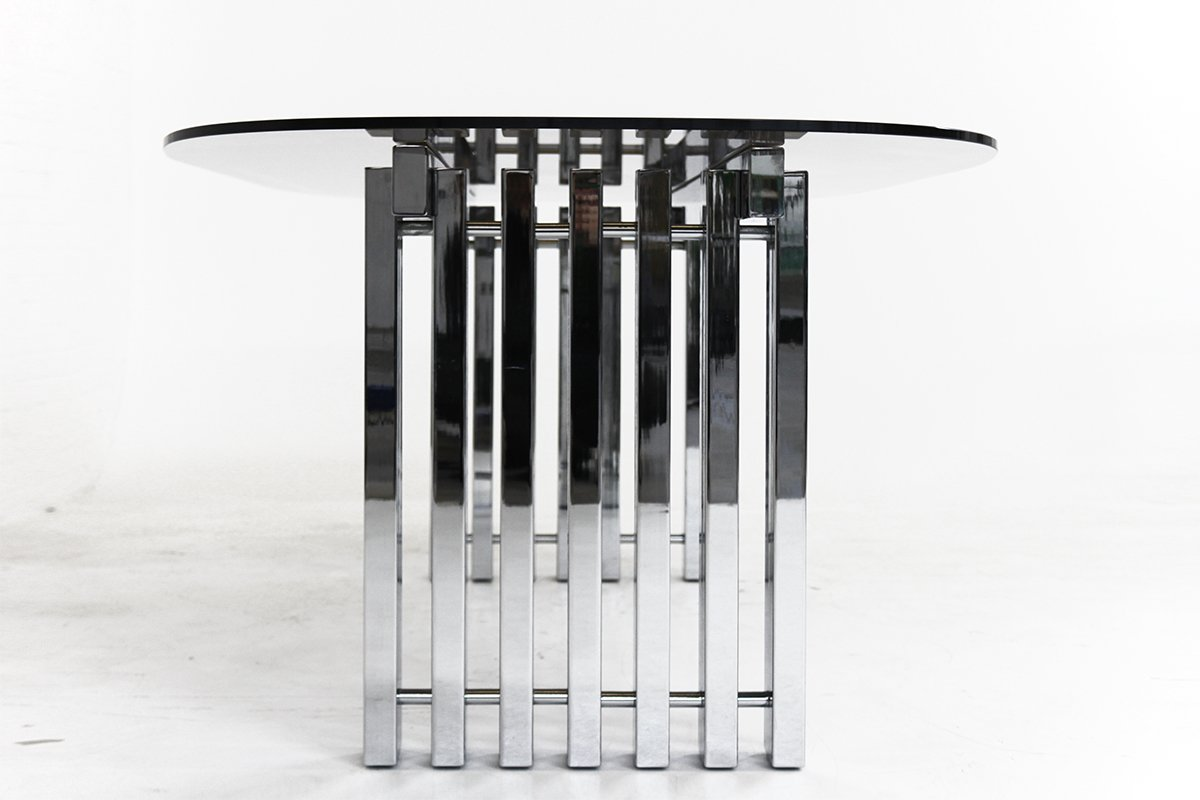 d53c9e90cf49 Mid-Century Modern Chrome and Glass Dining Table