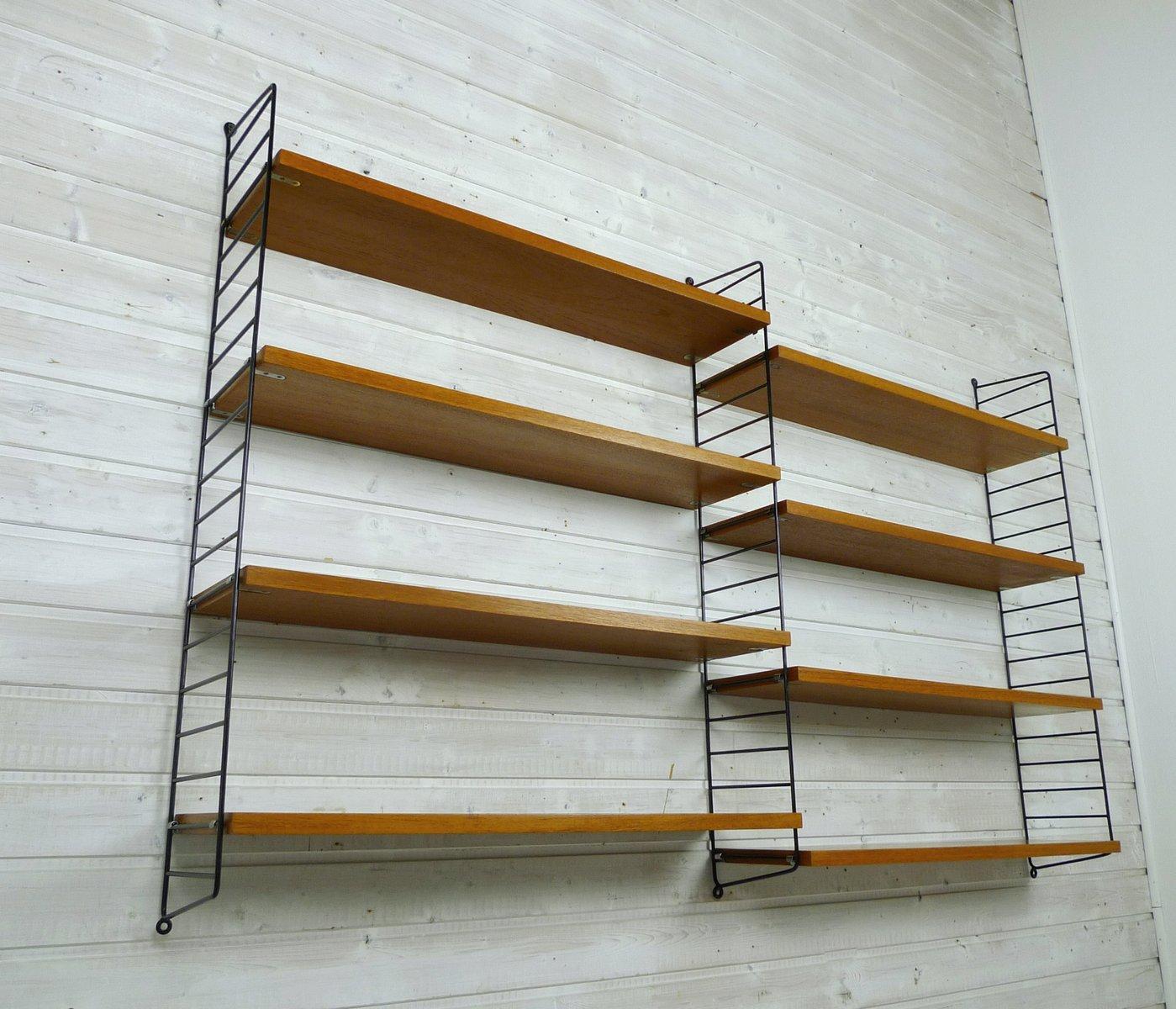 schwedisches wand regal system aus teak von nisse strinning f r string 1960er bei pamono kaufen. Black Bedroom Furniture Sets. Home Design Ideas