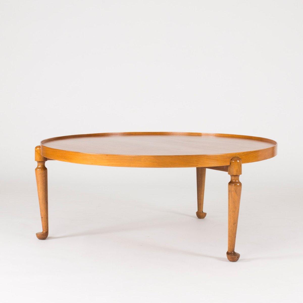 Mid Century Swedish Round Walnut Coffee Table By Josef Frank For Svenskt Tenn