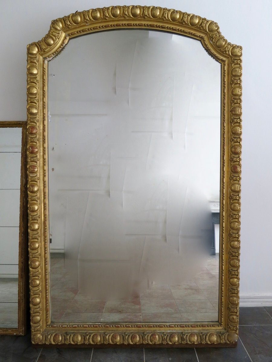 Large Antique French Gold Gilt Mirror for sale at Pamono