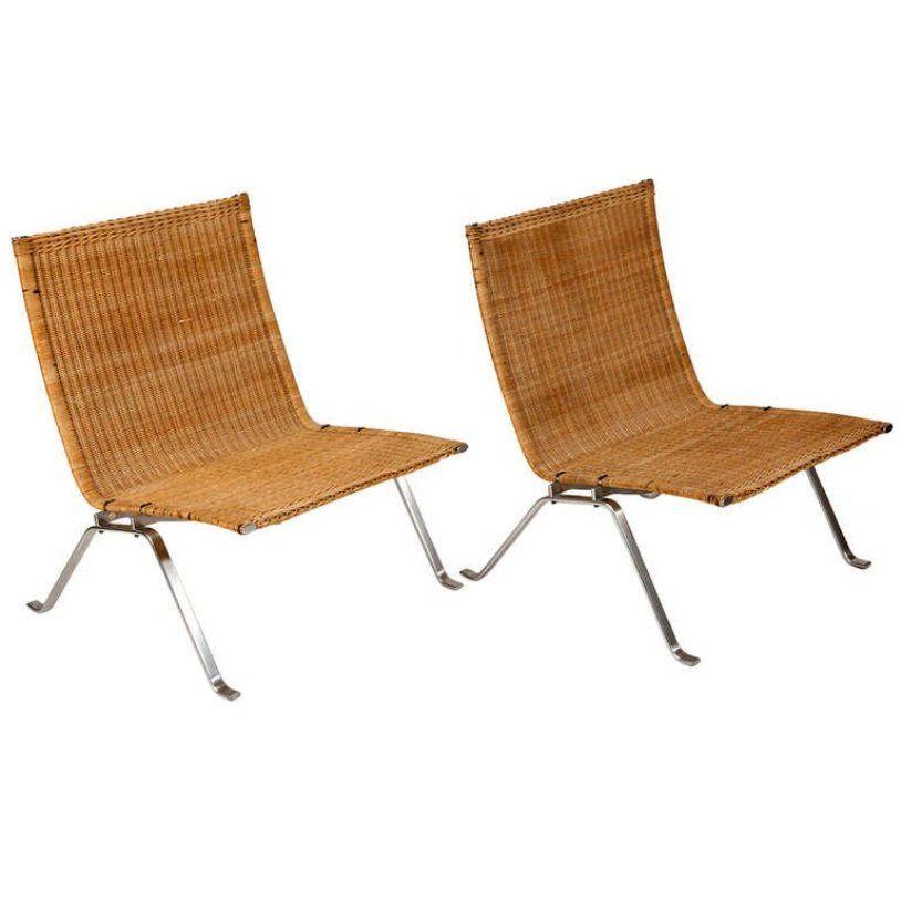 Vintage PK 22 Sessel von Poul Kjaerholm für E. Kold Christensen, 2er S...