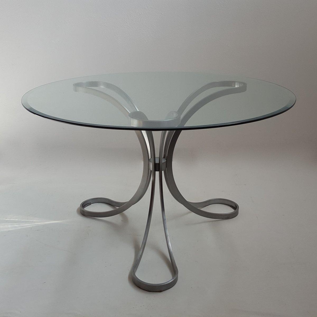 Runder Glastisch mit Dreibein Fuß, 1970er bei Pamono kaufen