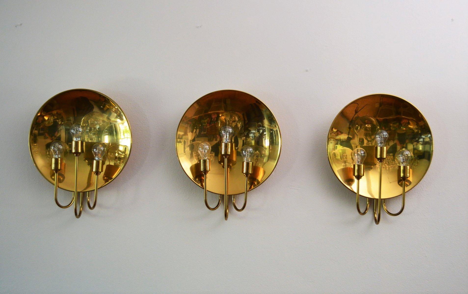 Große Messing Wandlampe von Florian Schulz, 1960er