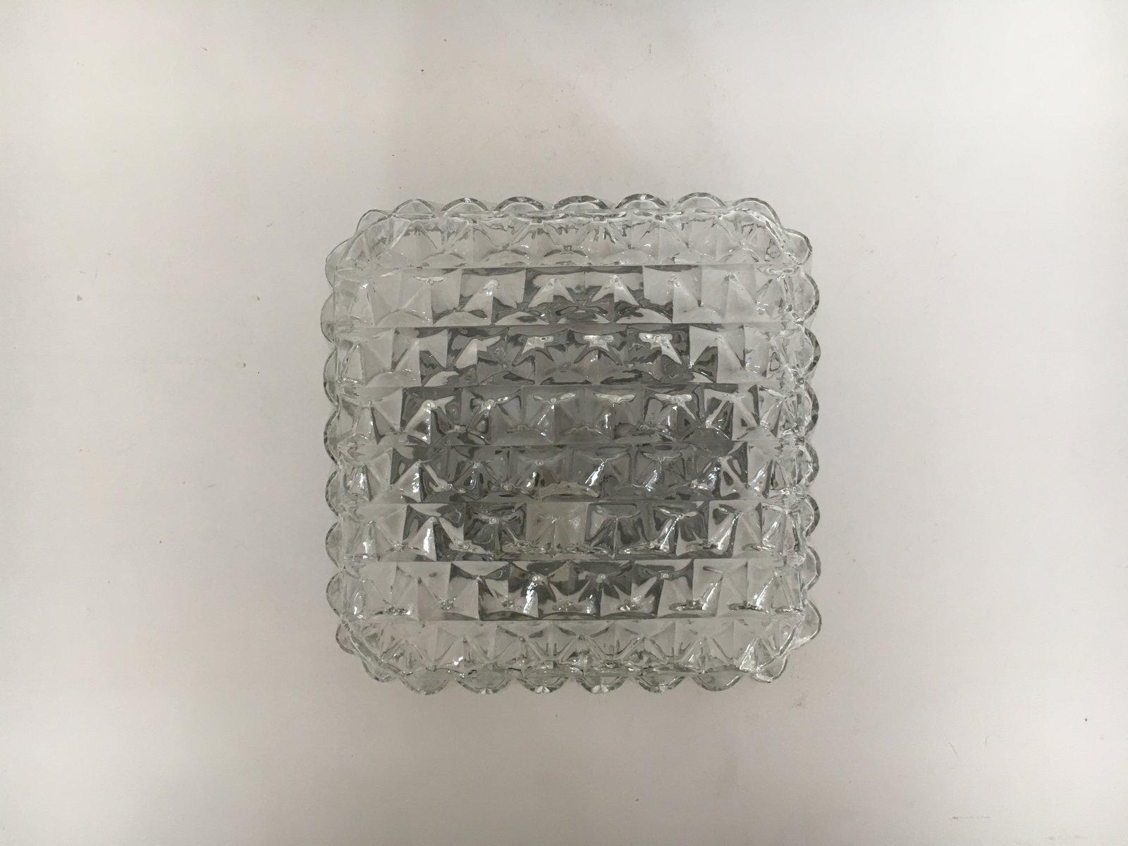 Quadratische Vintage Glas Wandleuchte, 1960er