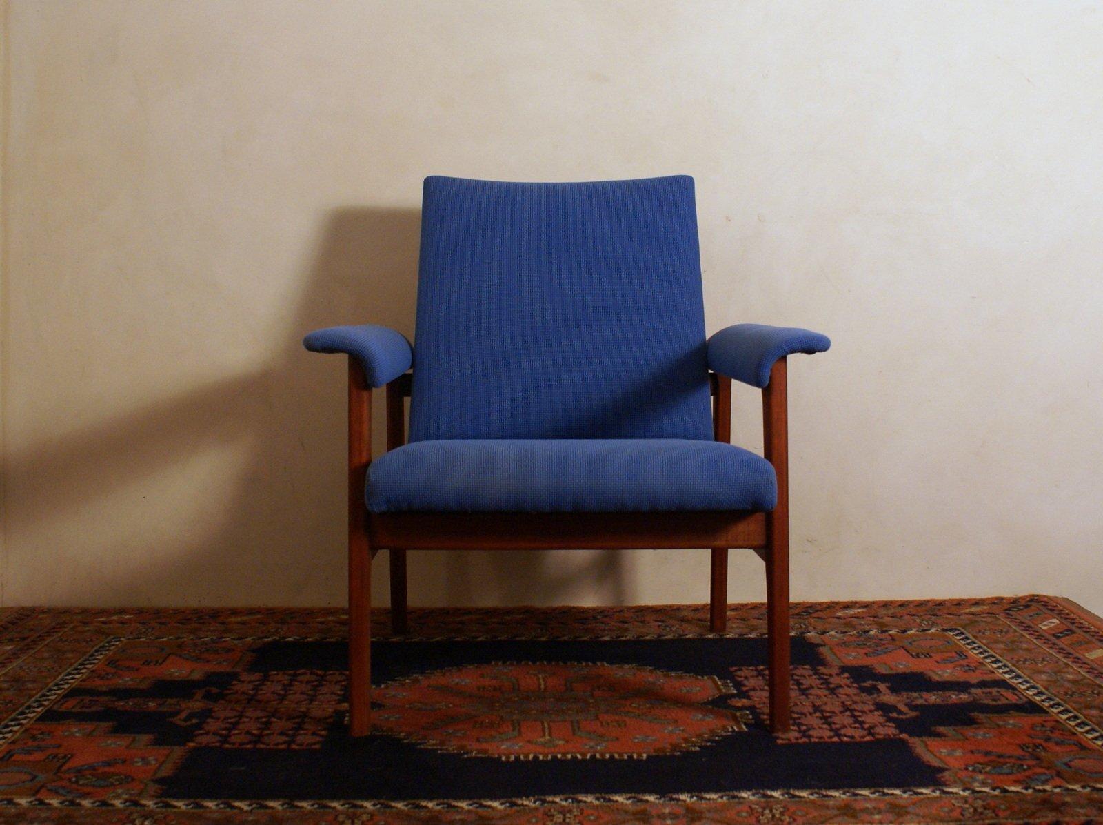 Sessel aus Blauem Stoff & Mahagoni, 1960er