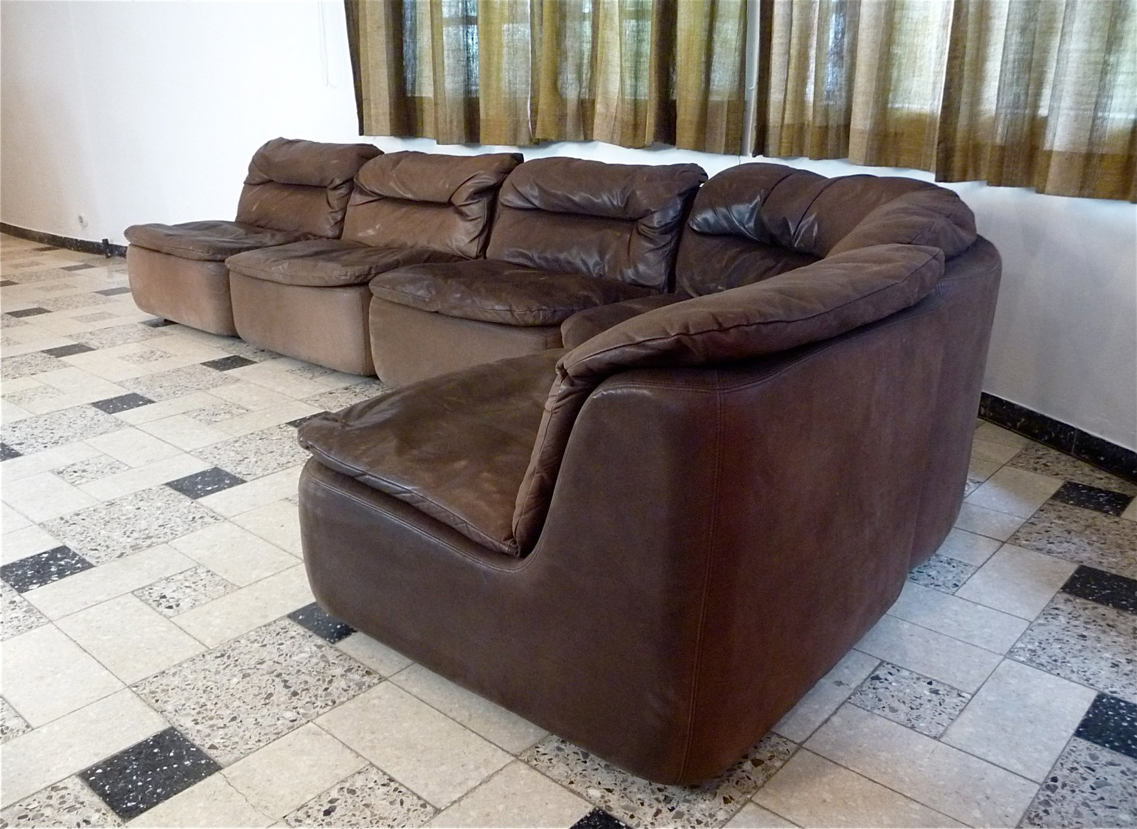 Curved Sectional Corner Leather Sofa By Friedrich Hill For