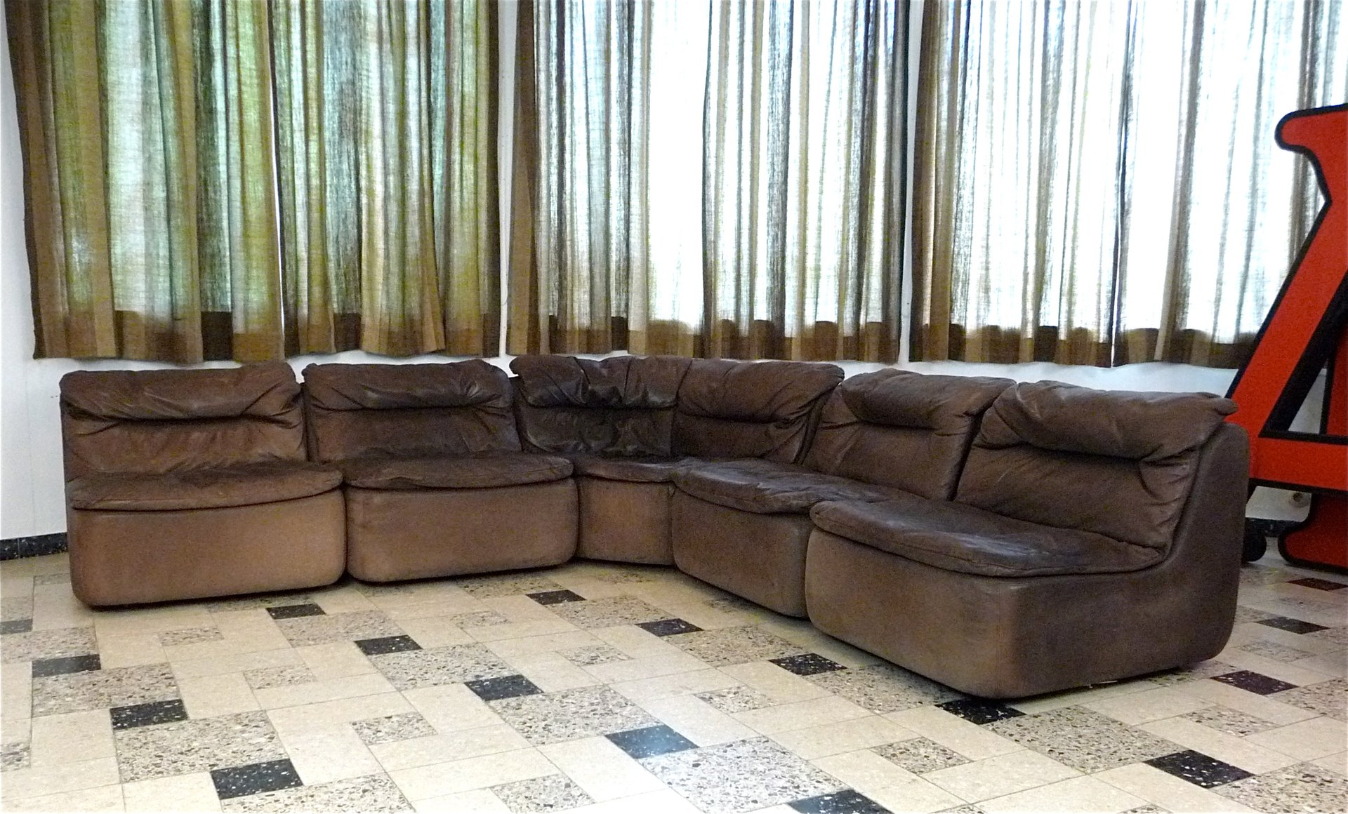 Curved Sectional Corner Leather Sofa By Friedrich Hill For Walter Knoll 1970s