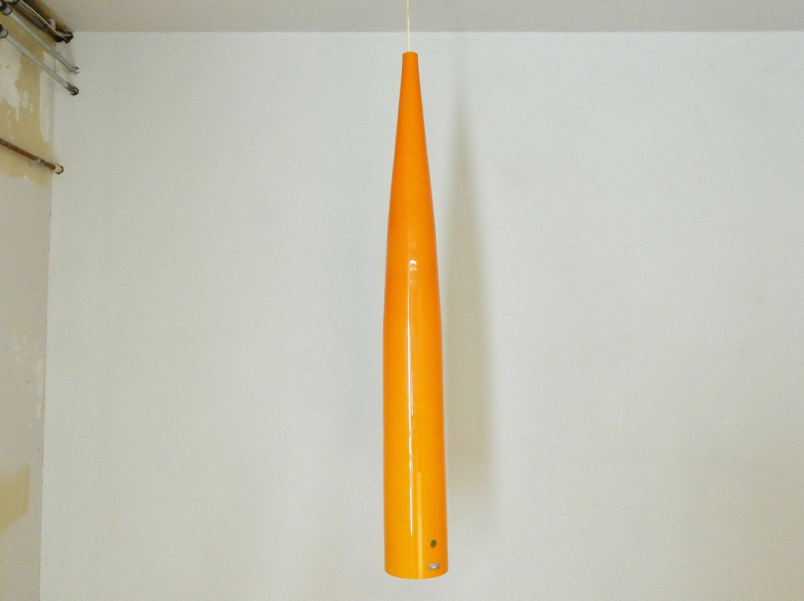 Orangefarbene Glas Hängelampe von Gino Vistosi für Vistosi, 1960er
