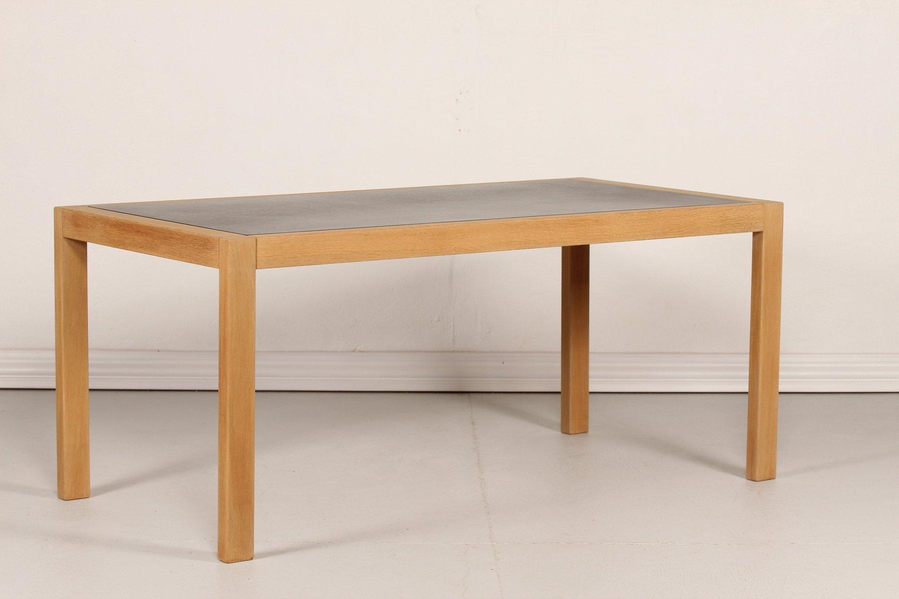 d nischer eiche werktisch mit schwarzer linoleum tischplatte 1970er bei pamono kaufen. Black Bedroom Furniture Sets. Home Design Ideas