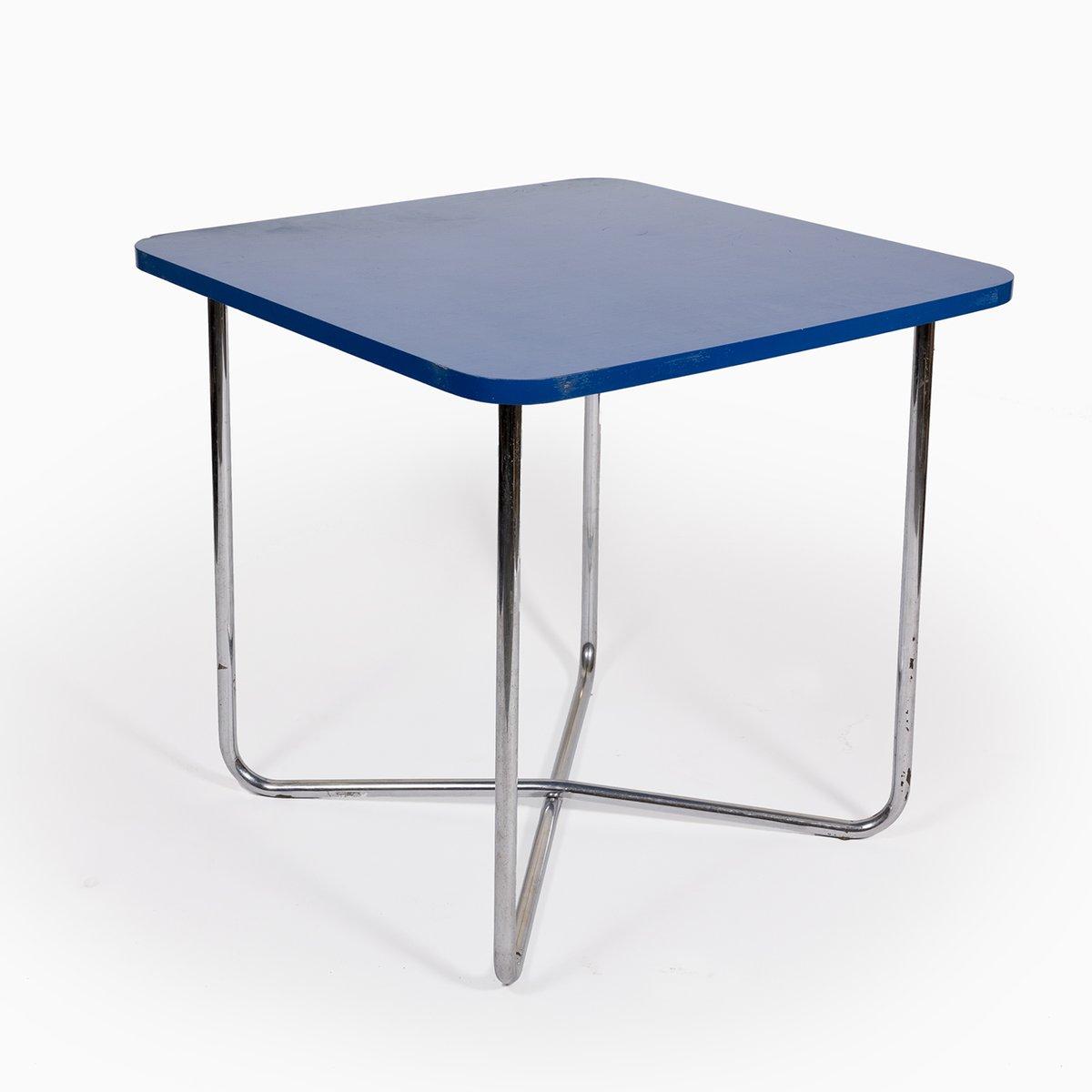 Blauer Vintage Tisch mit einem Gestell aus Chromrohr