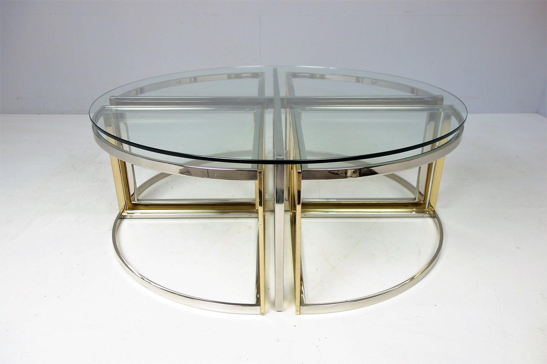 Tavolo rotondo in vetro acciaio ed ottone di maison for Tavolo di vetro rotondo