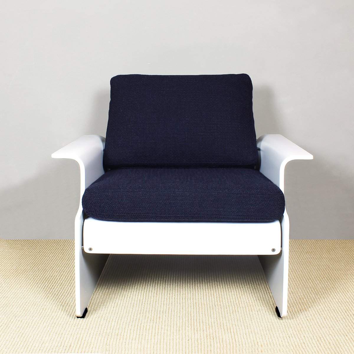 italienische sessel in wei und blau 1970er 2er set bei pamono kaufen. Black Bedroom Furniture Sets. Home Design Ideas