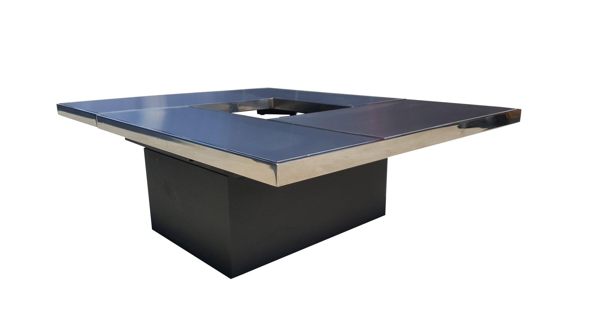 table basse coulissante avec bar cach de belgo chrom 1975 en vente sur pamono. Black Bedroom Furniture Sets. Home Design Ideas