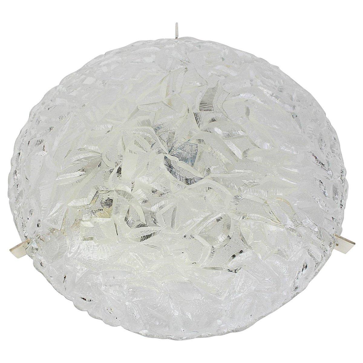 Große Runde Eisglas Deckenleuchte von Kaiser, 1970er