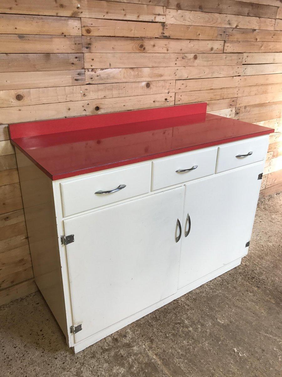 Mueble de cocina con superficie de melamina roja a os 50 en venta en pamono - Mueble anos 50 ...