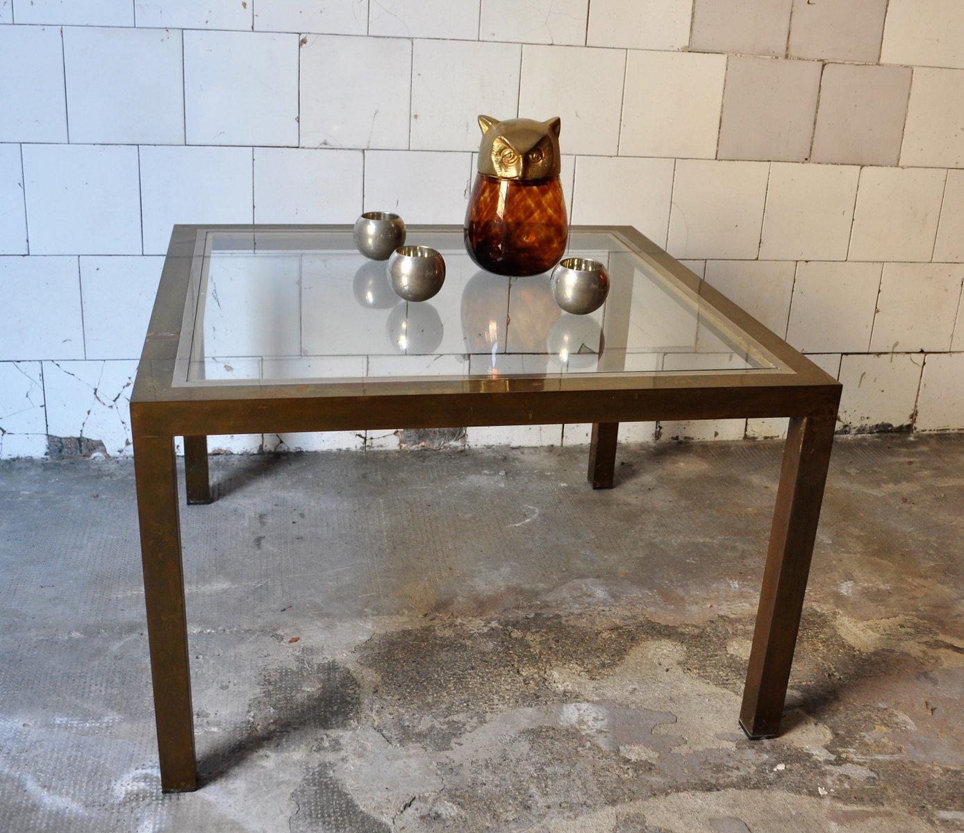 quadratischer couchtisch aus messing und glas 1970er bei pamono kaufen. Black Bedroom Furniture Sets. Home Design Ideas