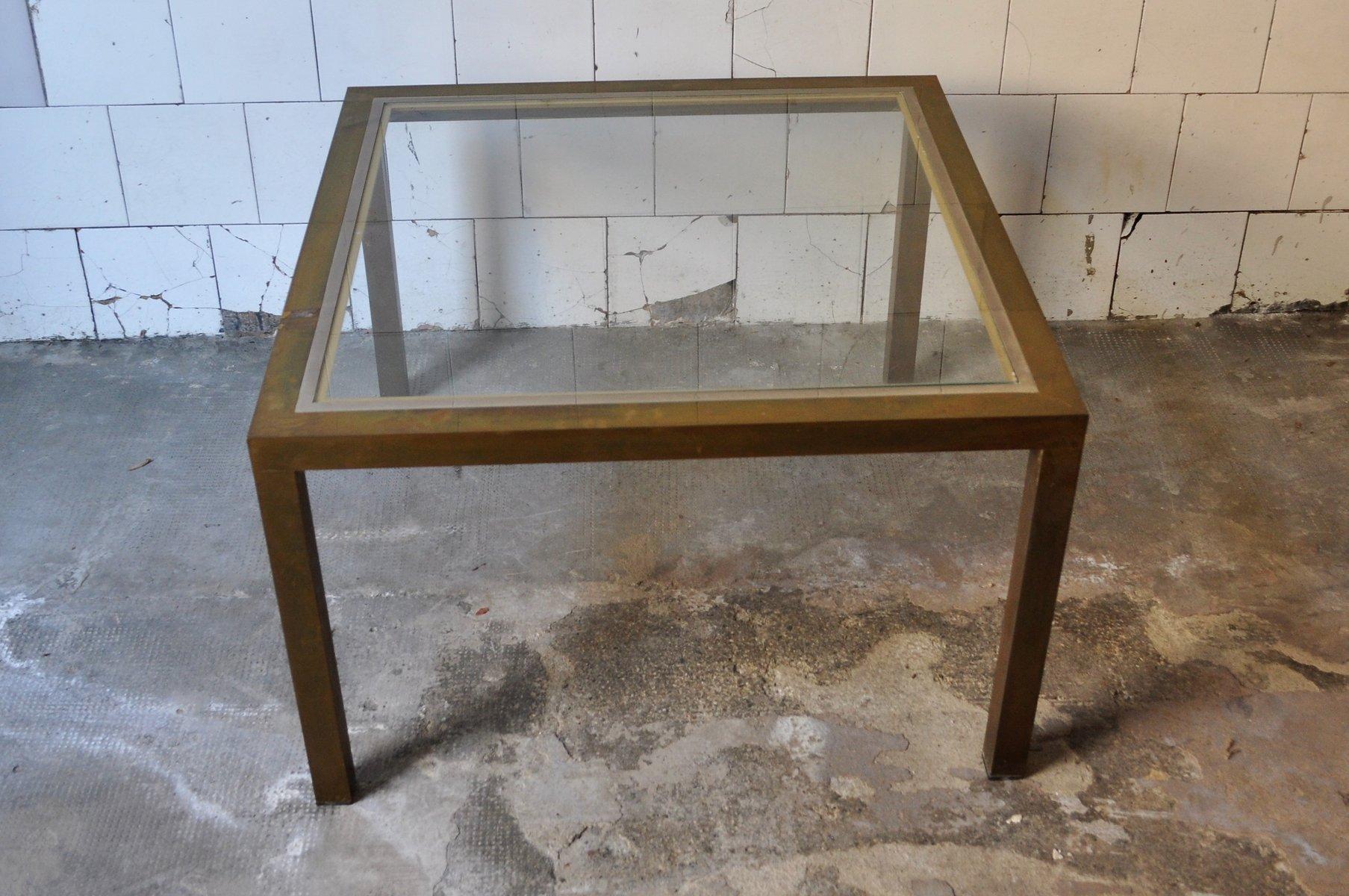 table basse carr e en laiton et verre 1970s en vente sur. Black Bedroom Furniture Sets. Home Design Ideas