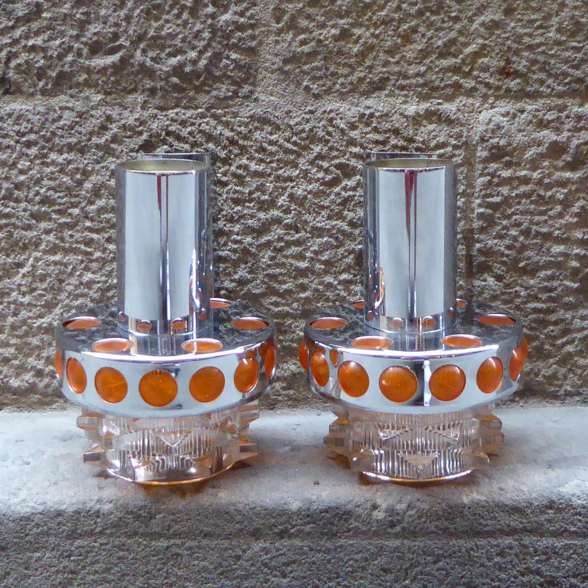 Französische Wandlampen aus Glas und Messing, 1970er, 2er Set