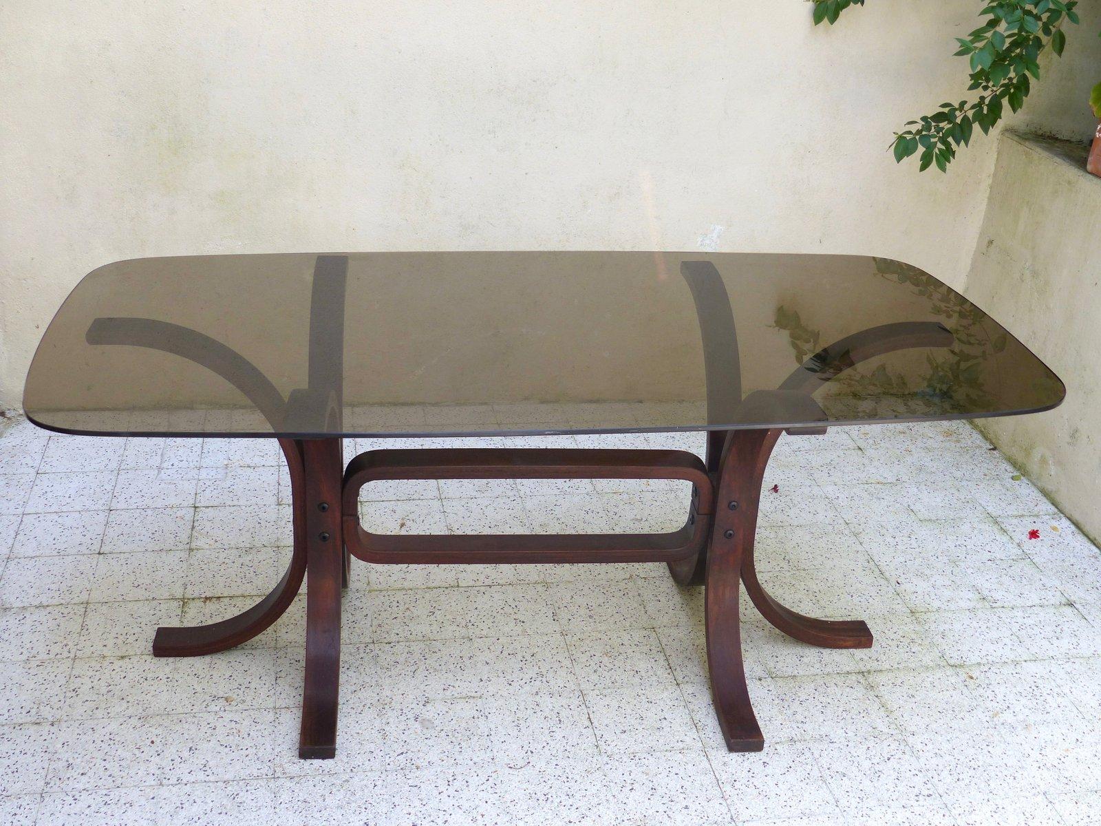 Vintage Tisch aus Glas & Geschwungenem Holz