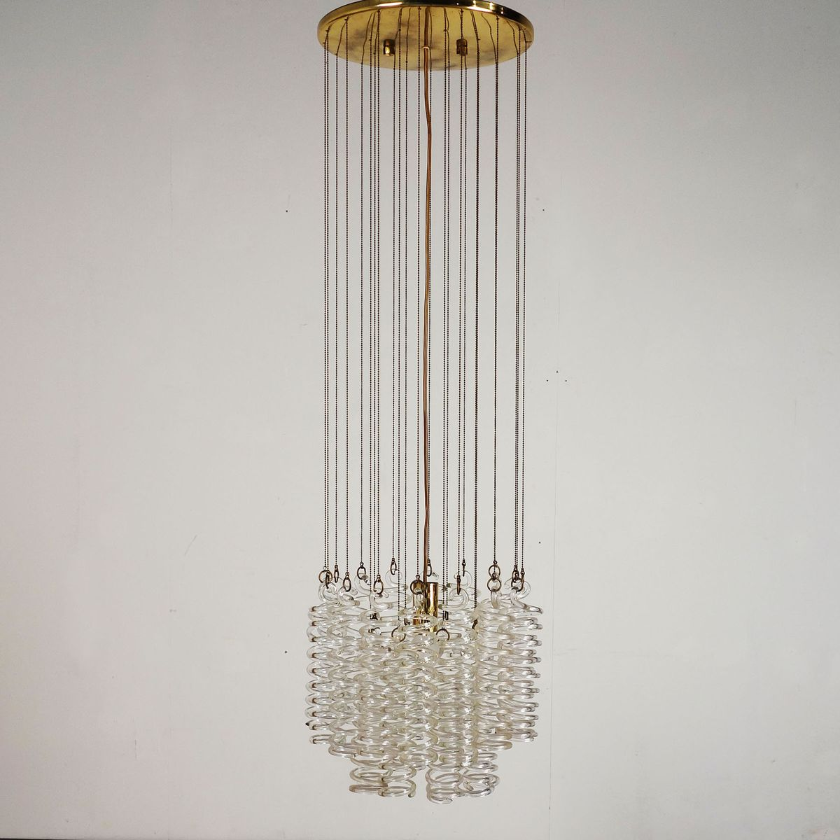 Glass Spiral Chandelier, 1970s for sale at Pamono