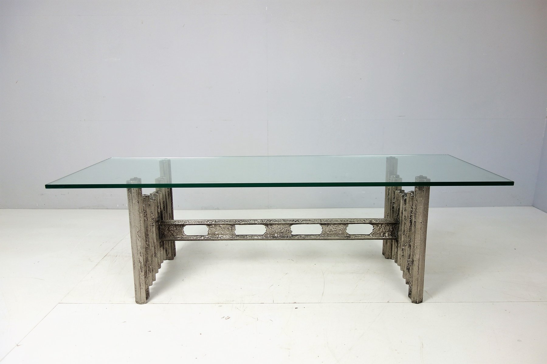 Vintage Brutalist Coffee Table With Metal Casting U0026 Thick Glass Tabletop