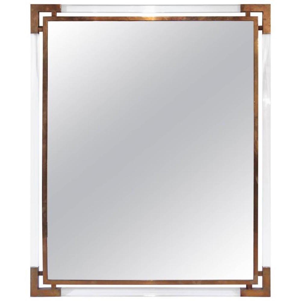 franz sischer vintage spiegel mit rahmen aus vergoldetem messing plexiglas von guy lefevre f r. Black Bedroom Furniture Sets. Home Design Ideas