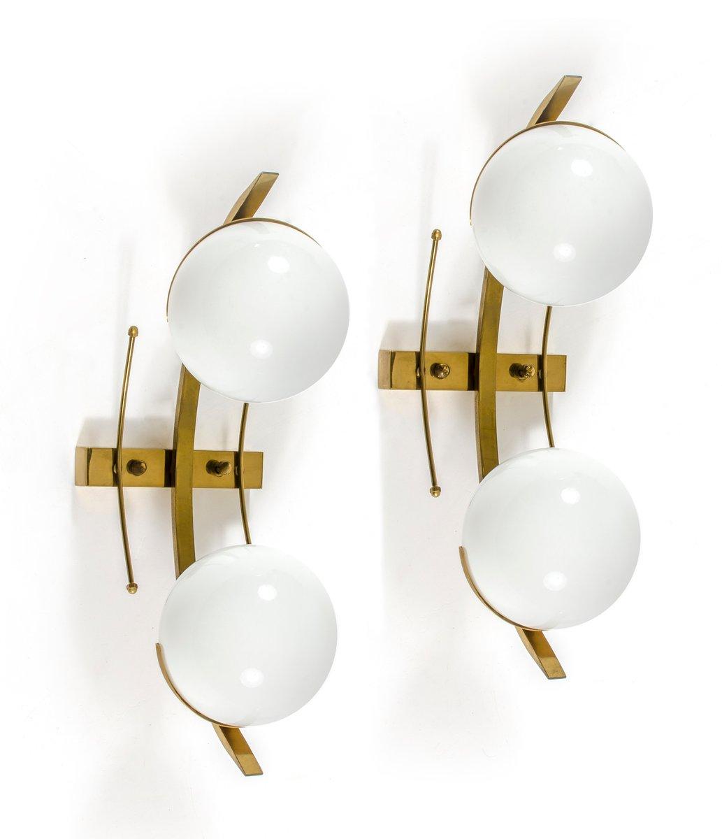 Messing & Glas Wandlampen von Stilnovo, 2er Set