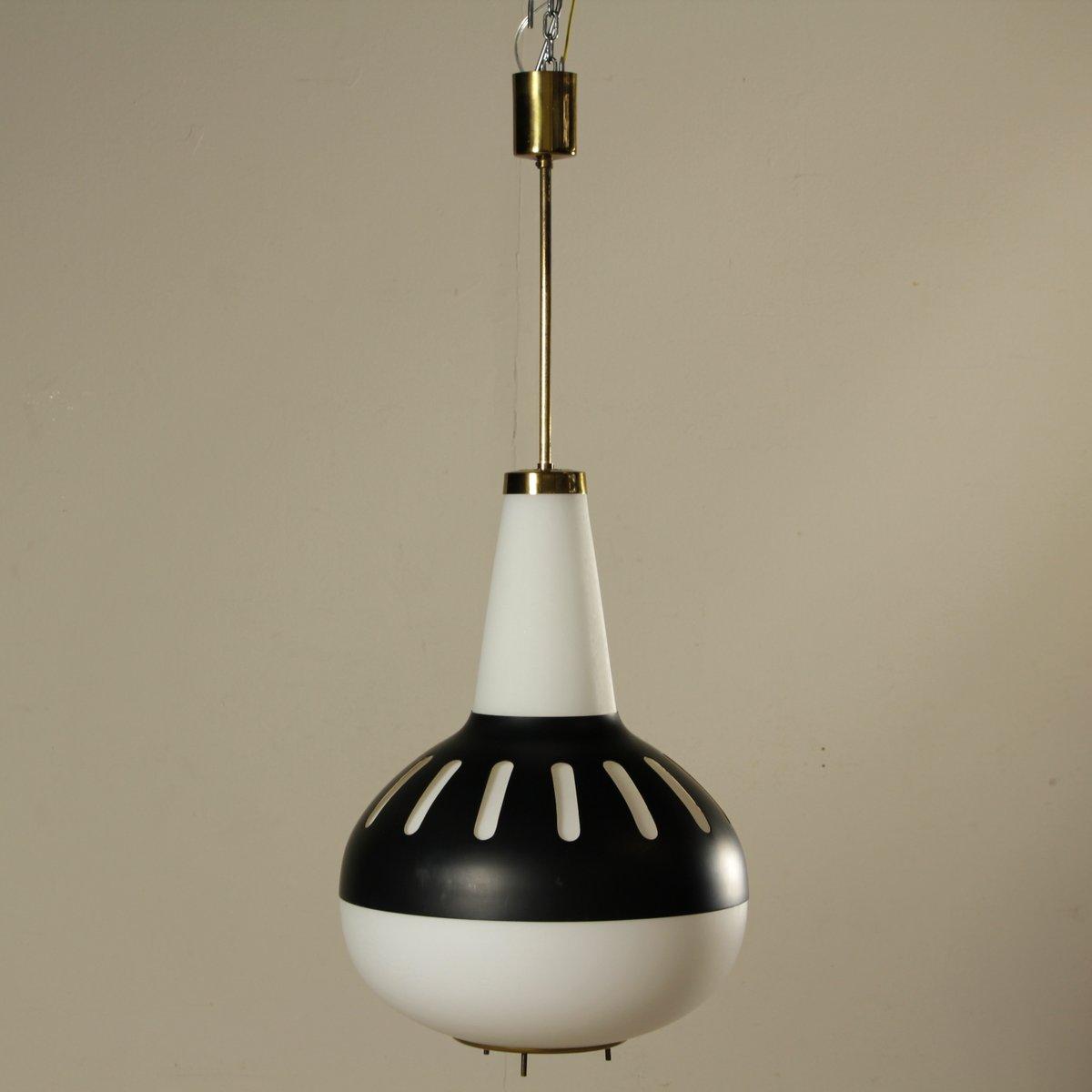 Deckenlampe aus Opalglas, Aluminium & Messing, 1960er