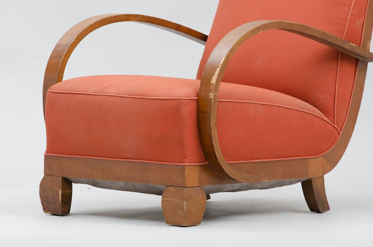 fauteuil art d co en noyer 1980s en vente sur pamono. Black Bedroom Furniture Sets. Home Design Ideas